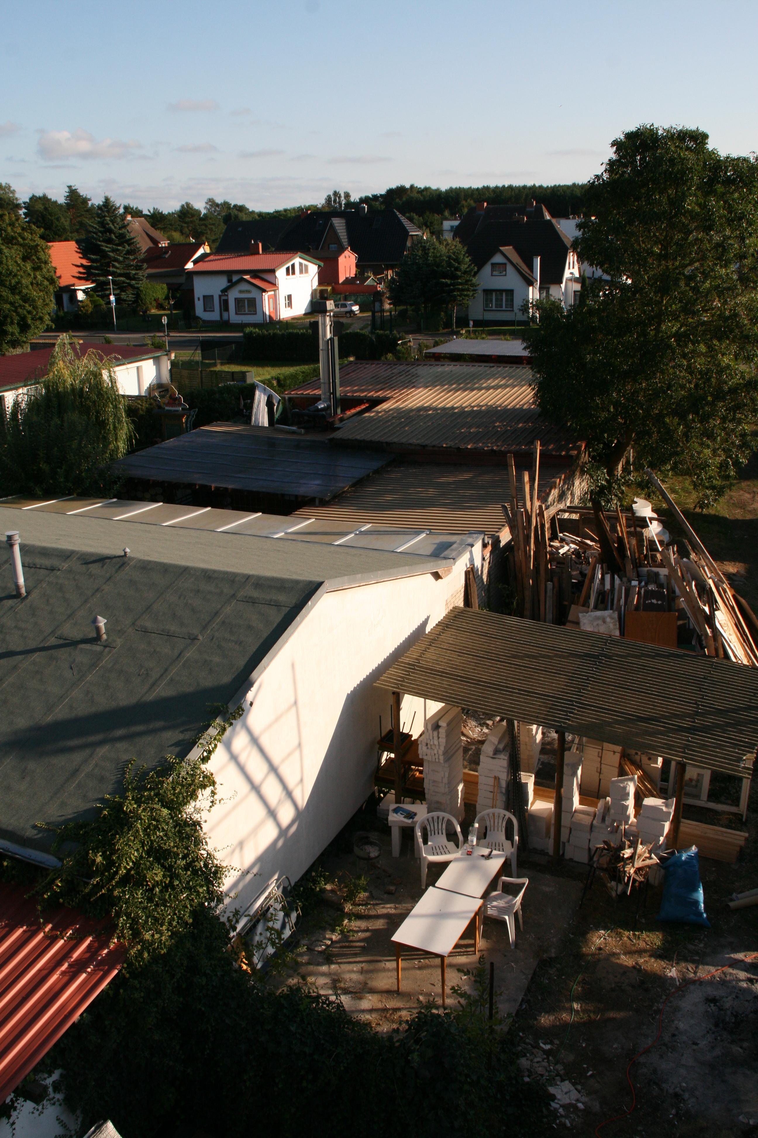 Das Chaos während der Bauarbeiten von Oben - dort ist heute die Terrasse