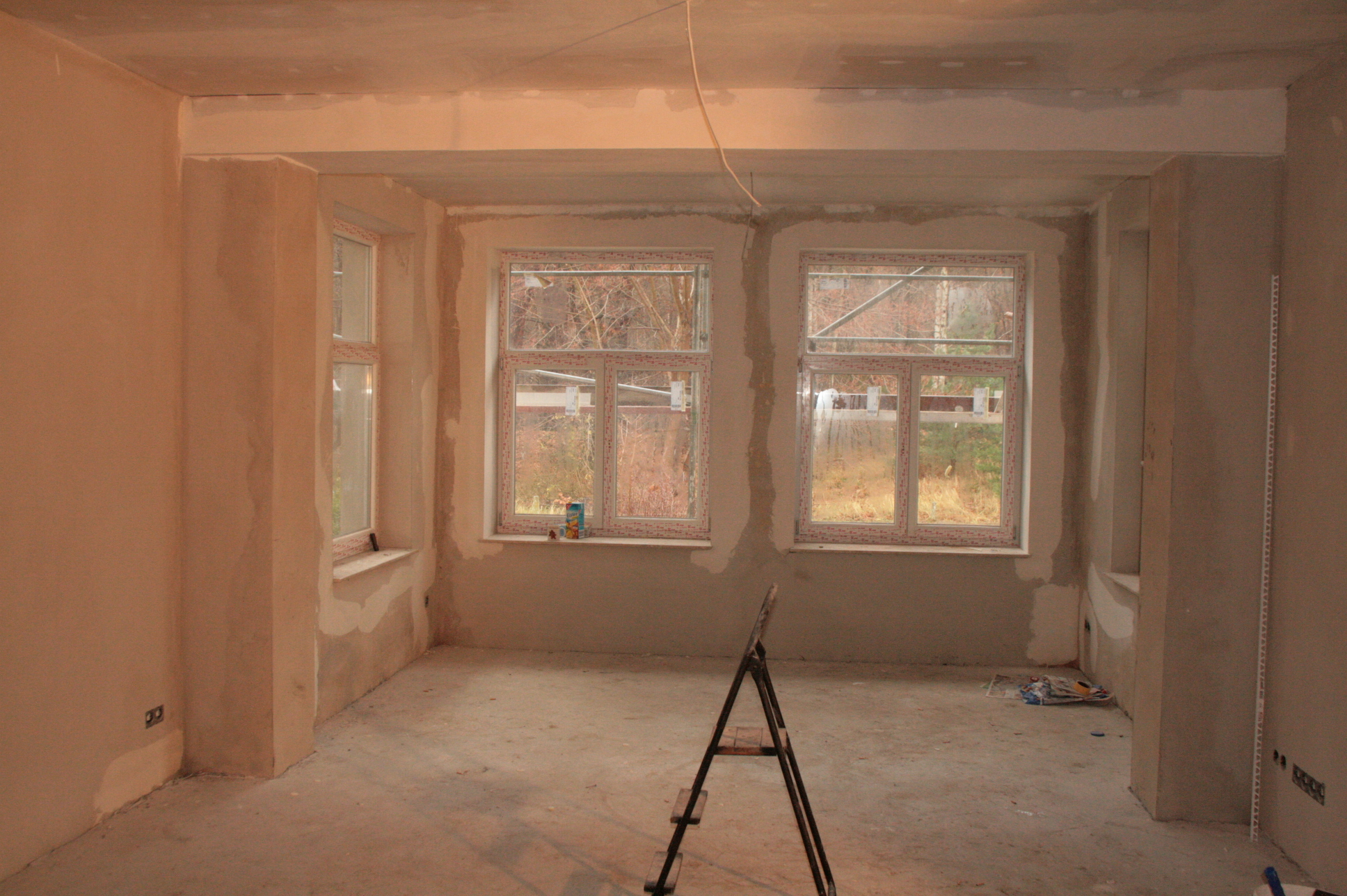 Der Rohbau des Wohnzimmer / Erker ist fertig gestellt